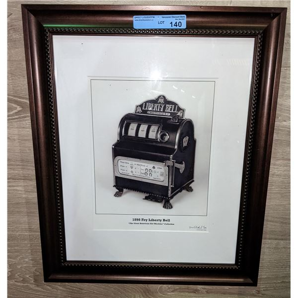 """1898 FEY Liberty Bell Slot Machine Framed Picture - 20""""x24"""""""