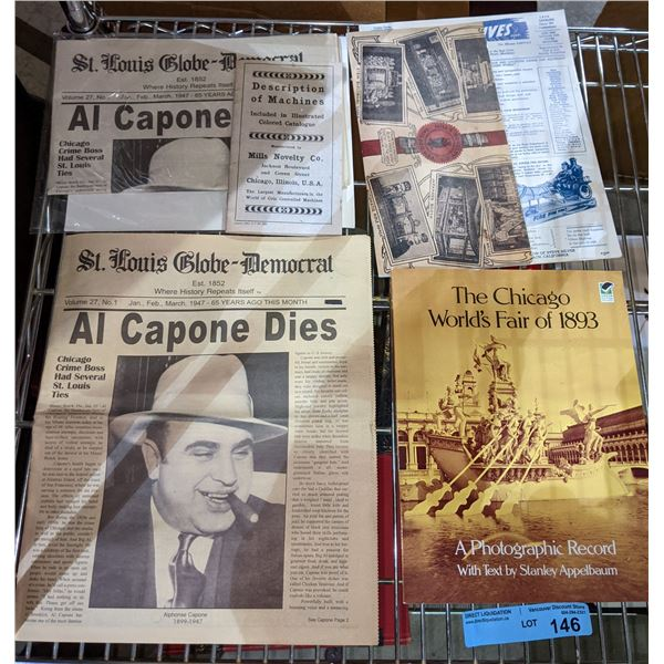 Vintage newspapers with Al Capone news 1893 photographic record - some reproduction and some real