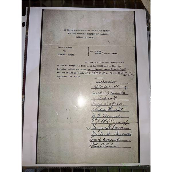 Al Capone trial document Rare - photocopy