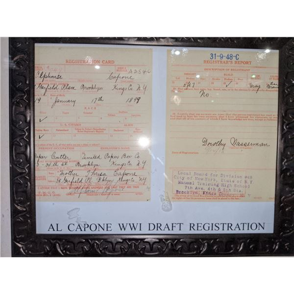 """Highly collectible Al Capone world war one draft registration 19""""x16"""""""