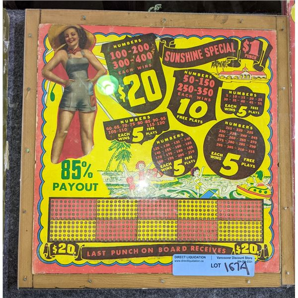 """2 unpunched punch boards 1 is Rare pin up theme band 1 Is Rare theme 13"""" x 14"""