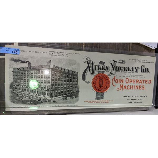 """Elaborate mills novelty company and elaborate factory poster - 32""""x12"""""""