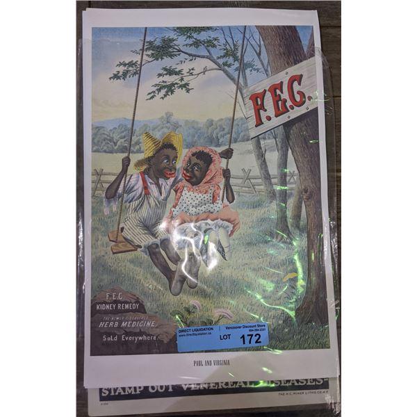 Black americana advertising and a war time venerial disease posters
