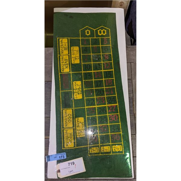 Small original traveling gambler roulette table felt