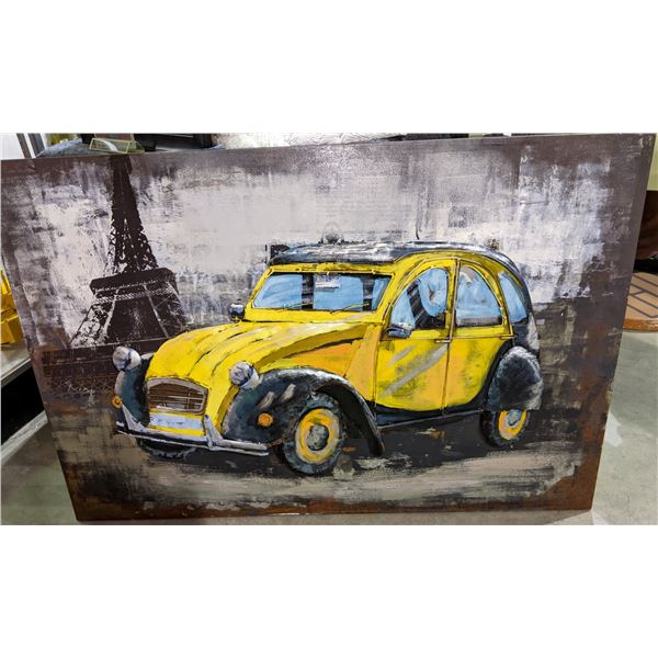"""Moe's Metallic Car with Eiffer Tower Painting Wall Decor approx 47"""" x 32"""""""