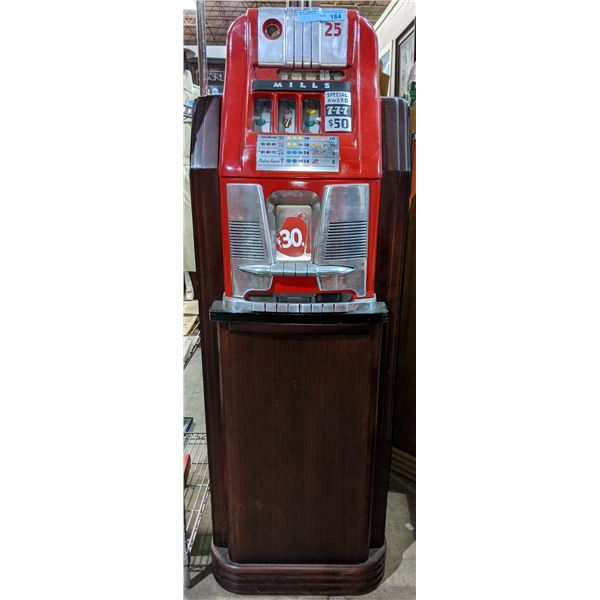 Mills 777 slot machine - great restored condition- complete with wooden stand