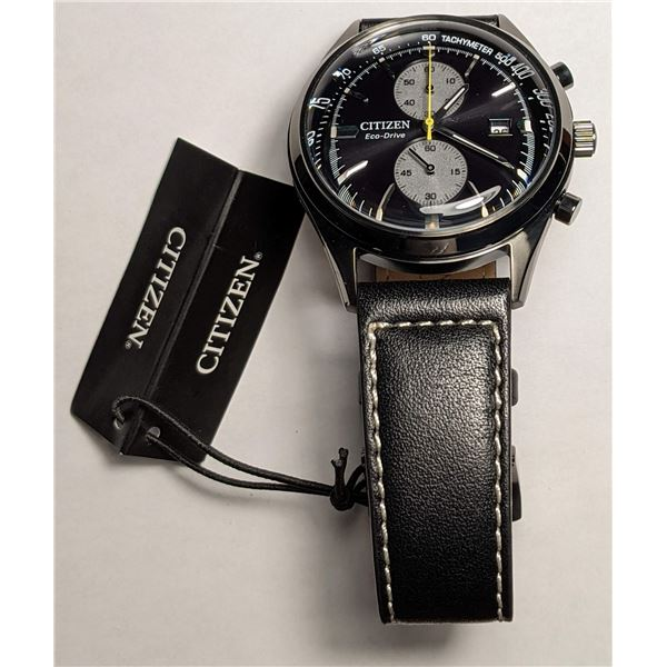 Citizen Black Leather Band Watch CHANDLER CA7027-08E (value $475)