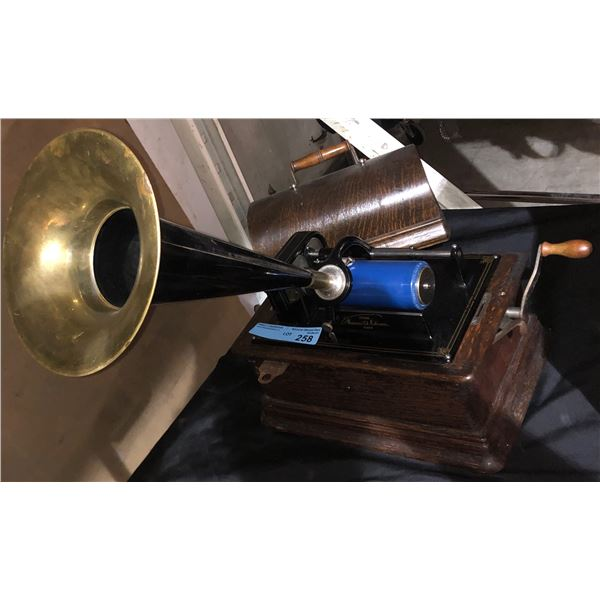 Edison Cylindrical Gramophone ANTIQUE with Witches Hat Speaker