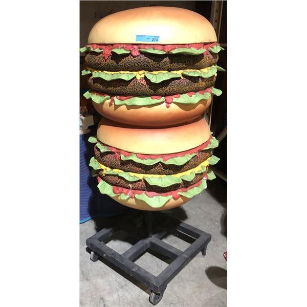 Stack of hamburgers on wheels Mcdonalds Big Mac - 62  H 28  diameter
