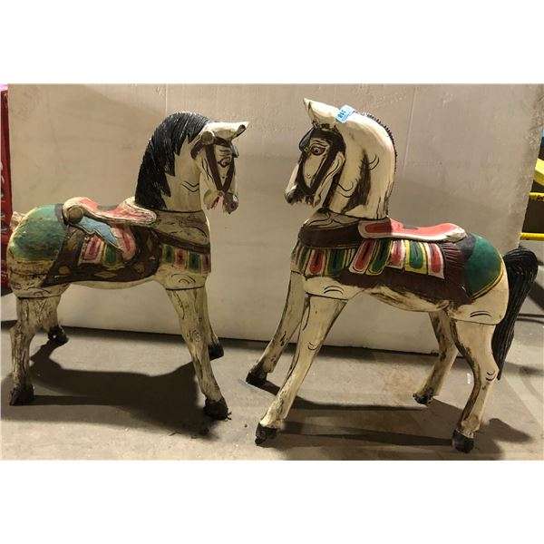 """Two wooden carved horses - 32"""" H"""