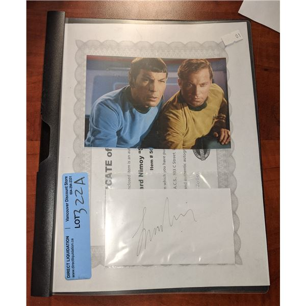 """Authentic Autograph of Leonard Nimoy """"Star Trek Spock""""  with Certificate of Authenticity"""