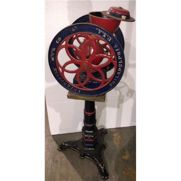 """Antique coffee grinder on stand - 50"""" H"""