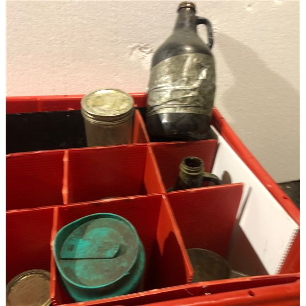 Box of glass jars and bottles from the Sci-fi show