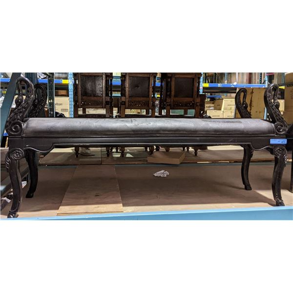 """Black Swan Wooden Bench from Chilling Adventures 60"""" W"""
