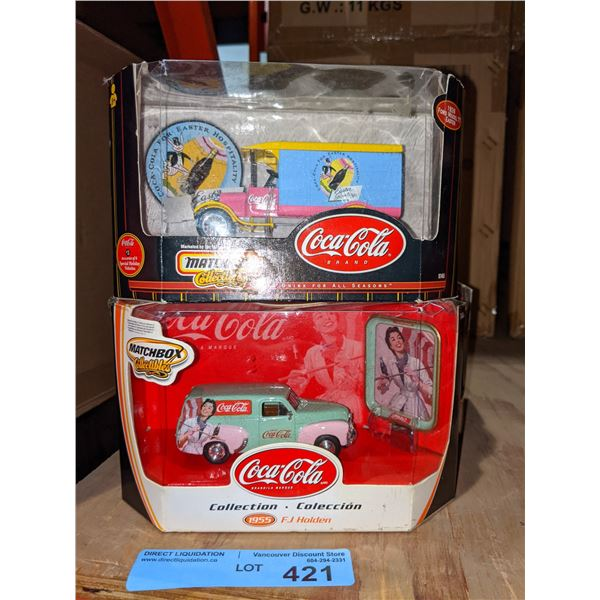 Three Matchbox collectibles Coca-Cola toy cars
