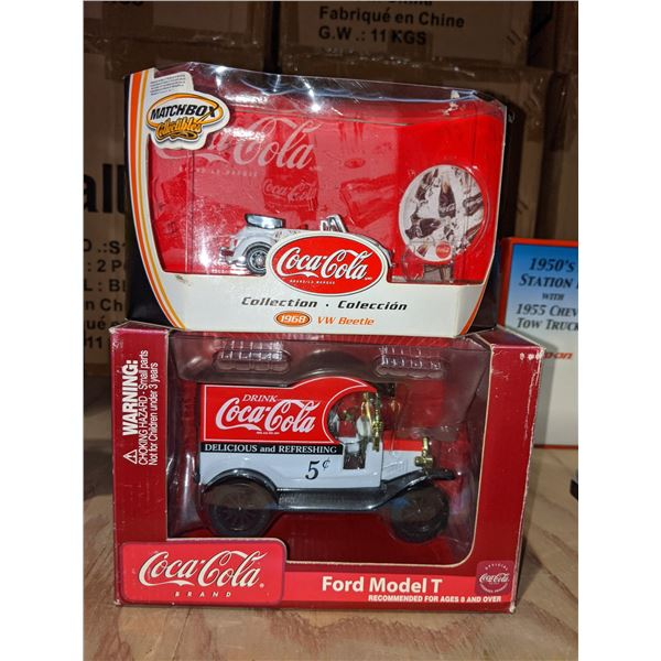 One Ford model T Coca-Cola car and one 1968 Volkswagen Beetle Coca-Cola