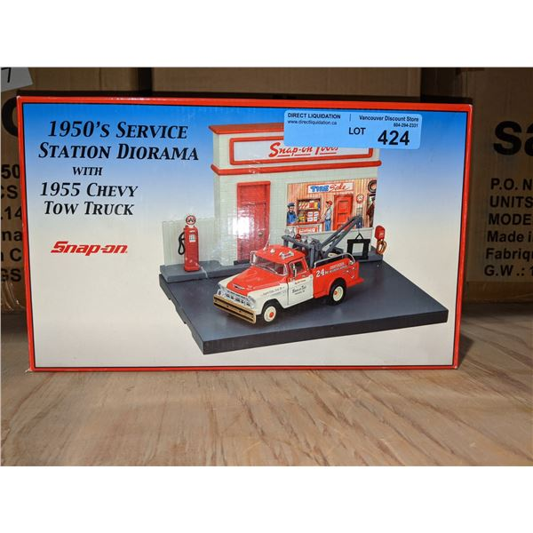 1950s Snap-on service station diorama with 1955 Chevy tow truck branded - new in box