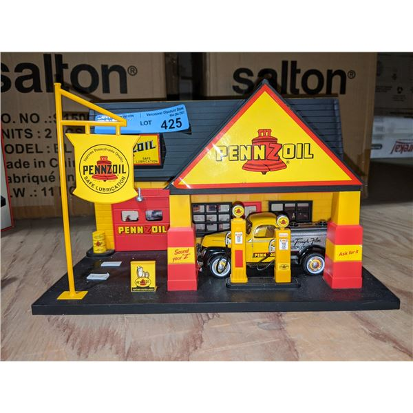 Pennzoil service station diorama with vintage looking oil truck