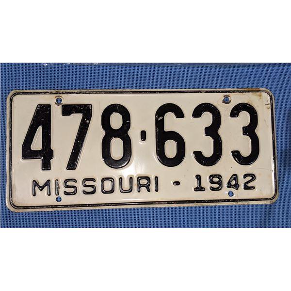 Missouri 1942 number plate