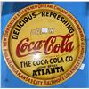 """Collectible Coca-Cola wooden sign with city names such as Toronto, Winnipeg etc. - 17"""" diameter"""