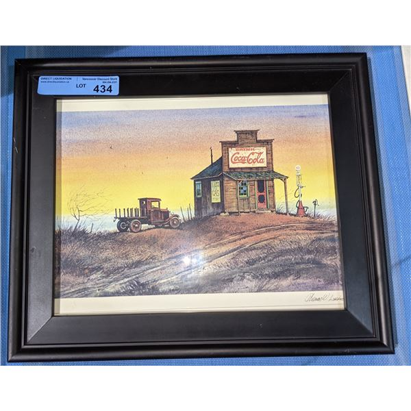 """Coca-Cola vintage looking framed picture - 17"""" x 14"""""""