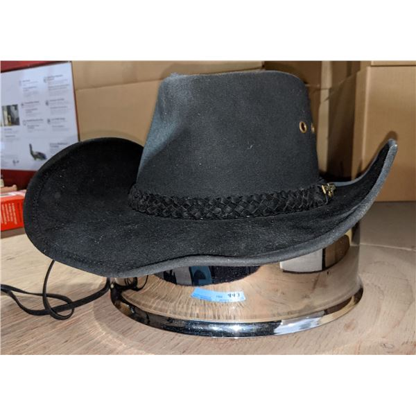 Cowboy hat and miscellaneous lid with skull head