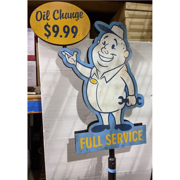 """Collectible oil change full service metal sign - Approx. 80"""" H x 31"""" W 