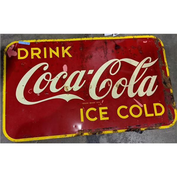 "Vintage Coca Cola Ice Cold Metal Sign - 59"" L x 35"" H"