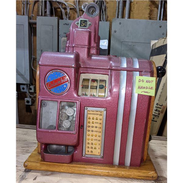 Columbia Slot Machine -Circa 1937 Columbia standard 3 reel slot machine - 5 cents machine