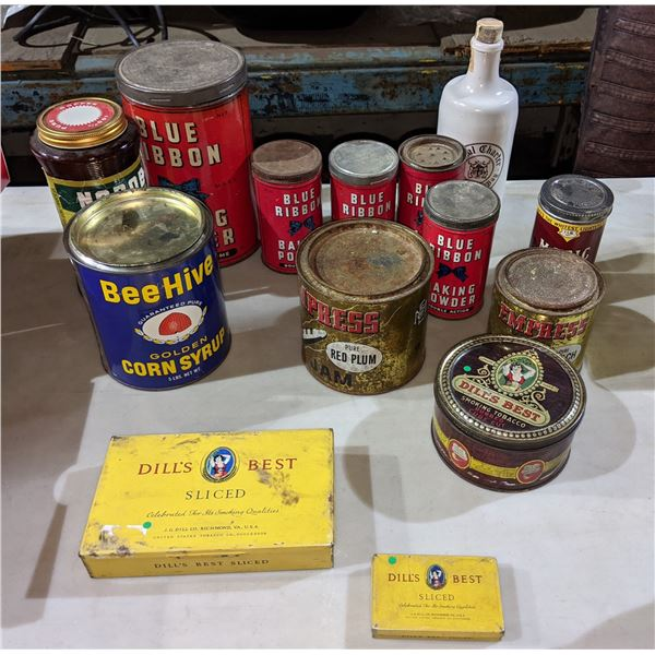 A large lot of vintage tins including blue ribbon baking powder, BeeHive Corn Syrub and Dill's best