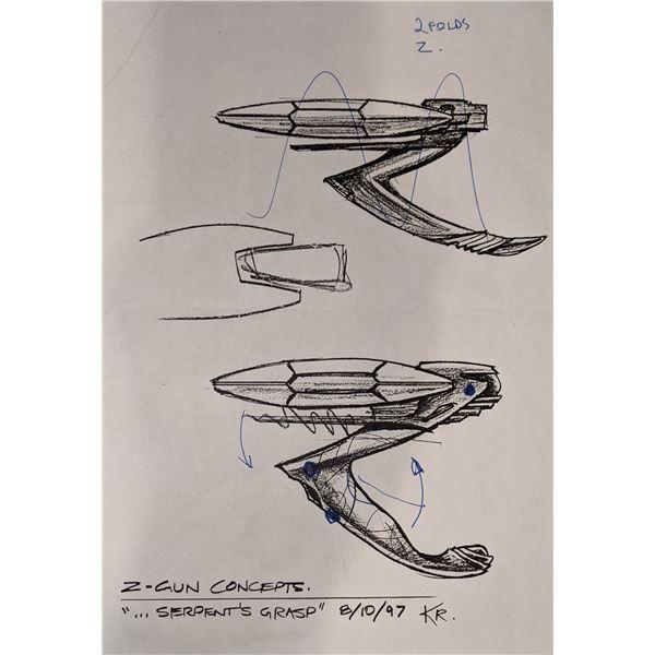 """Stargate SG-1 Z-Gun Concept Original Drawing """"Serpent's Grasp"""" 8/10/97"""