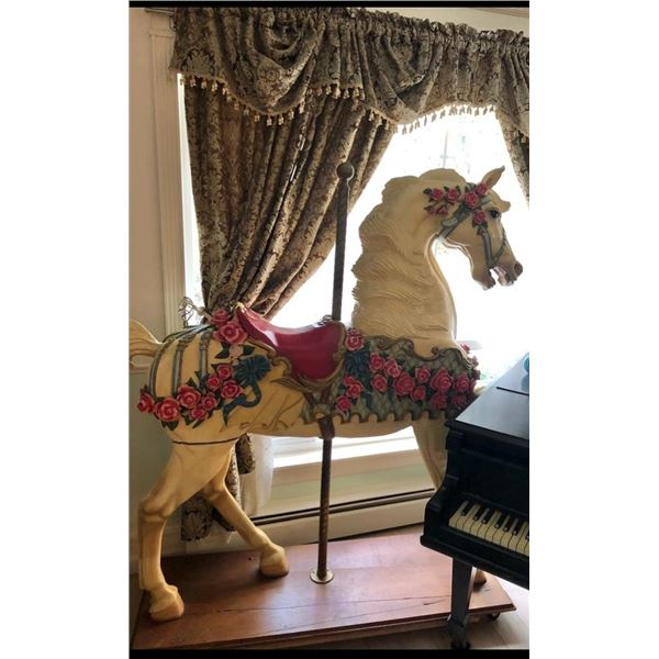 Wooden carousel horse. Commissioned by Ivana Trump for Trump Tower