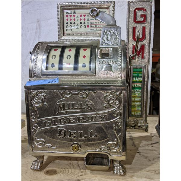 """MILLS CAST IRON """"LIBERTY BELL"""" SLOT MACHINE WITH CAST IRON SIDE MINT VENDOR. Concierge Collectors In"""