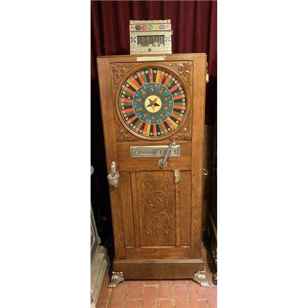 Johnnie Bull Upright Slot Machine - Earliest Known Slot Machine. 1894  Early 1900 Era. Rare Rare