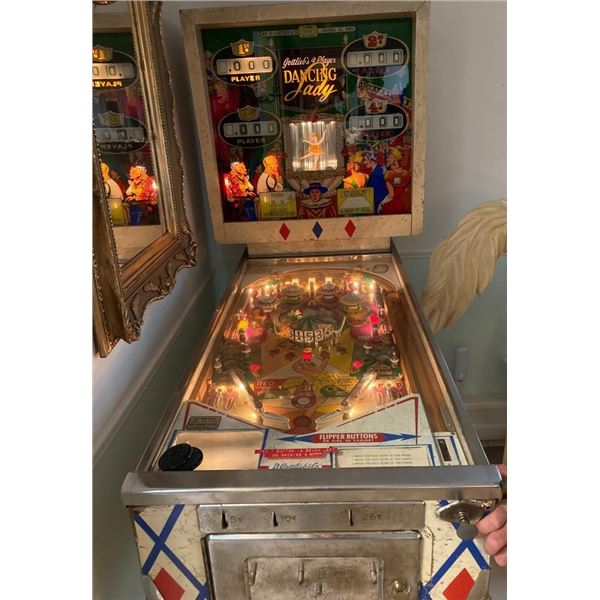 "1966 ""Gottlieb Dancing Lady""  Rare Ballerina Dances in Back Glass as you Play Pinball Machine"