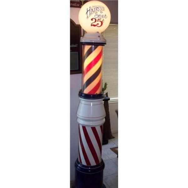 Cast Barber Pole with Milk Glass Globe