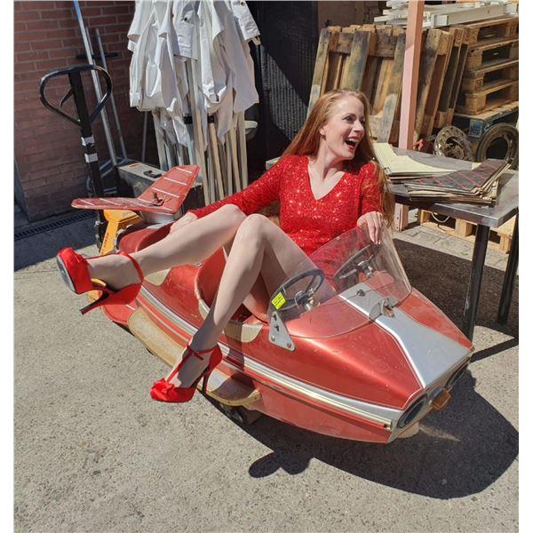 1960s Atomic Modern Carnival Chain Ride Space Rocket  - Original - RED