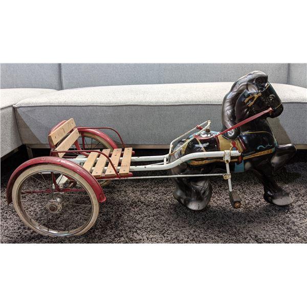 "Vintage Kids Horse Carriage (41"" x 19"" x 22"")"