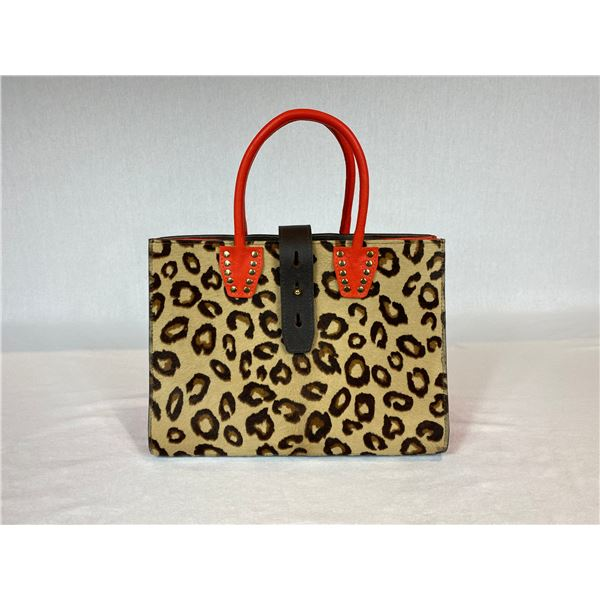 LARGE STRUCTURED LEOPARD PRINT TOTE BAG