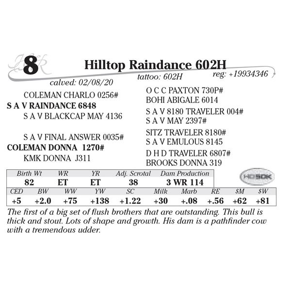 Hilltop Raindance 602H