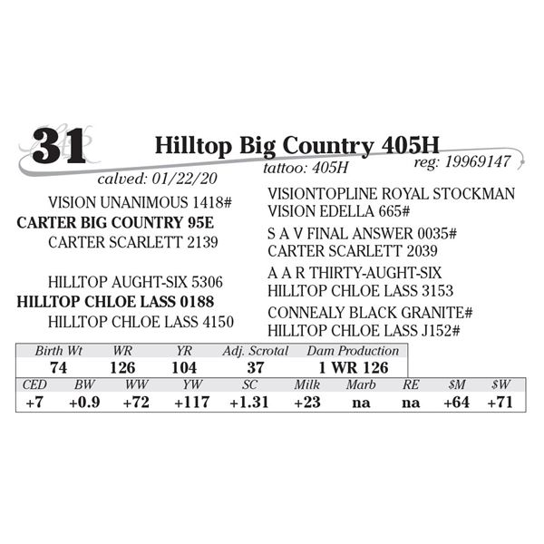 Hilltop Big Country 405H