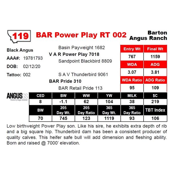 OUT OF SALE - BAR Power Play RT 002