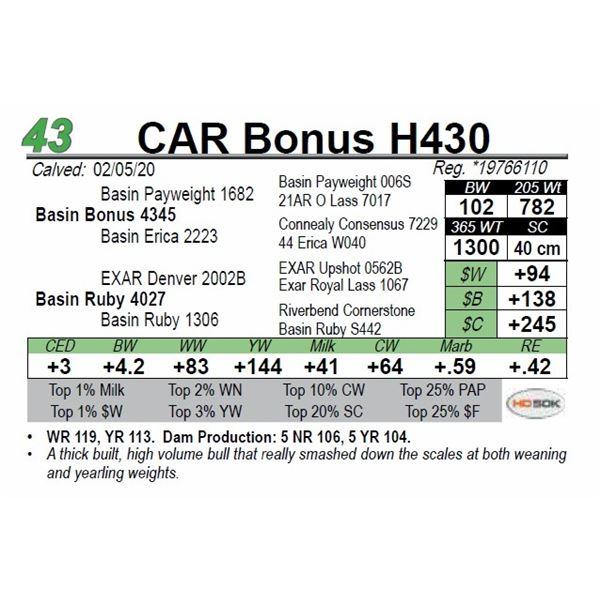 CAR Bonus H430
