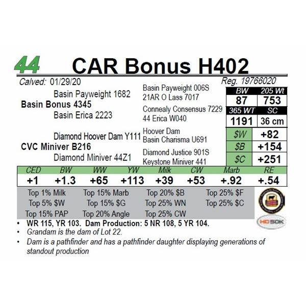 CAR Bonus H402