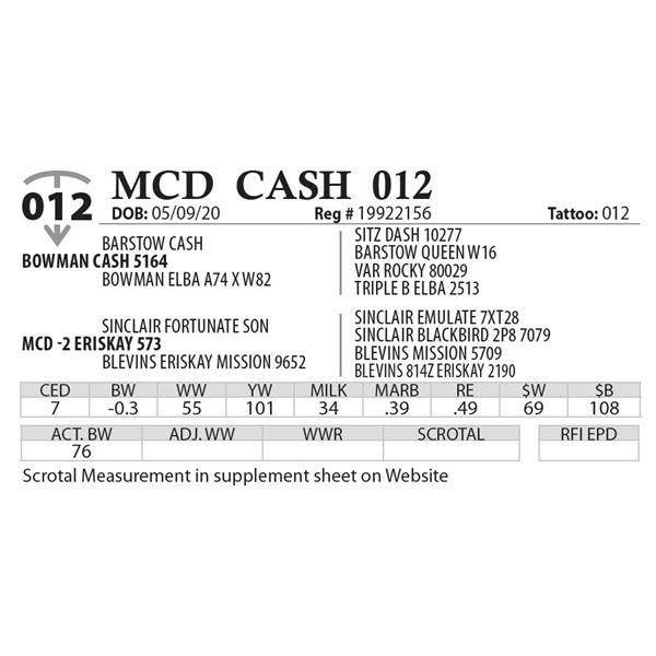 MCD CASH 012