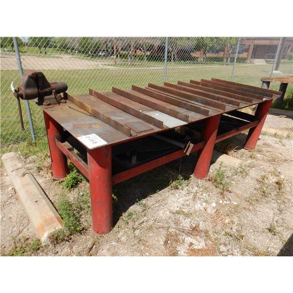 METAL SHOP TABLE W/ VISE, 10' x 4' x 3'