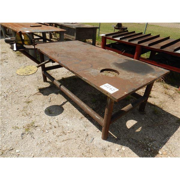 """METAL SHOP TABLE W/ VISE, 8' x 4' x 2' 9"""""""