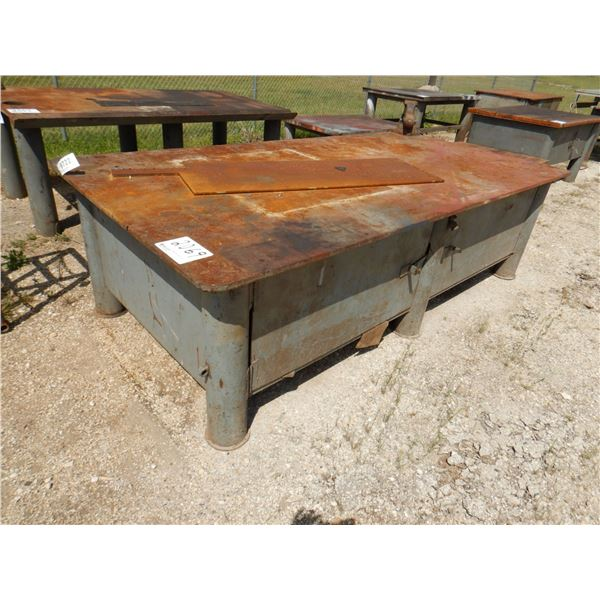 """METAL SHOP TABLE W/ VISE AND STORAGE, 10' x 5' x 2' 10"""""""
