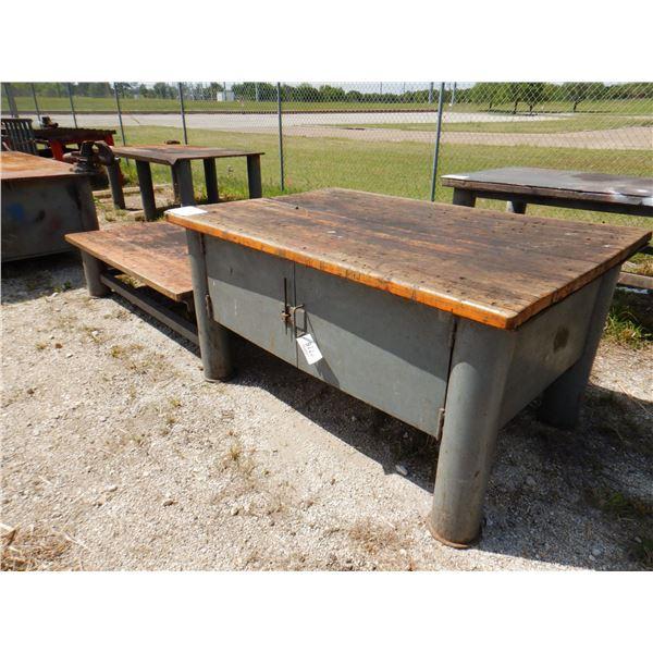 """METAL SHOP TABLE W/ STORAGE, 2 TIER - 6' x 4' x 1' 8""""/ 6' x 4' x 3'"""