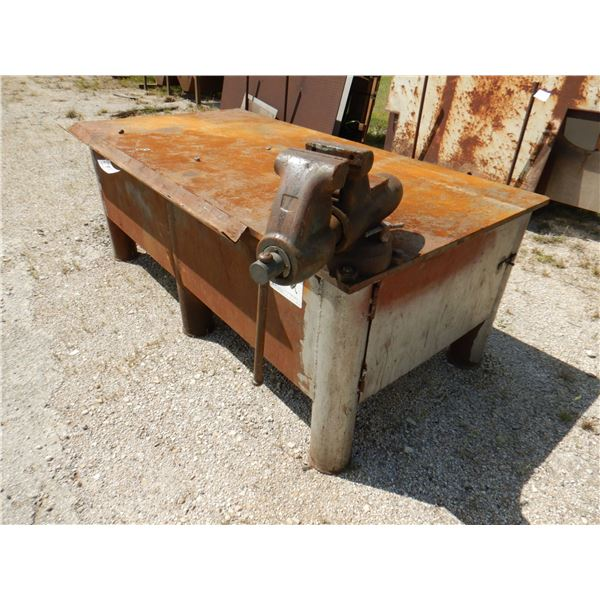 METAL SHOP TABLE W/ VISE AND STORAGE, 8' x 4' x 3'